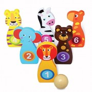 Kids Bowling Game Set - Indoor Wooden Toy Playset - Includes 6 Numbered Animal Pins & Bowling Ball - Teach Kids To Bowl & Count w/ This Fun Active Toy