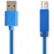 Nedis CCGP61100BU30 USB-A - USB-B (apa - apa) kábel 3m - kék