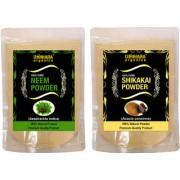 Donnara Organics 100% Natural Neem Powder and Shikakai powder Combo pack of 2 of 150 gms(300 gms)