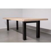 Simone Albani Living Excellence Station7 - Industriële tafel met metalen N-Poot met profiel - Oud Eiken Hout -