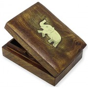 SKAVIJ Playing Card Box Handmade Wooden Holder for 1 Deck of Playing or Poker Cards Elephant Decorative Case Gift for New Year