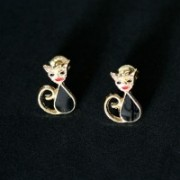 Earring Gold Plated Jewelry Semi Small Cat
