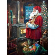 Bits And Pieces - 1000 Piece Jigsaw Puzzle For Adults Santa Fawn Pc Christmas Holiday Winter By Artist Ruane Manning