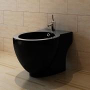 vidaXL Bideu ceramic rotund cu montare pe pardoseală, negru