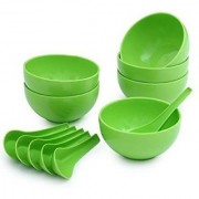 Yuvi Traders Plastic Soup Bowl Set of 12pcs (6 Bowls 6 Soup spoons) Green