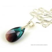 """Bijou Gio Design™ Zilveren Ketting met Swarovski Elements Pear-Shaped """"Zircon Burgund Blue"""""""