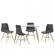 [en.casa] Juego de comedor - mesa blanca 120 x 70 x 75cm + sillas grises 80 x 44,5cm