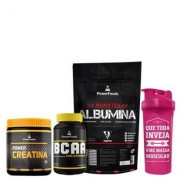 Kit Monster Albumina 500g com Power BCAA 120 cáps mais Power Creatina 300g e Coqueteleira 700ml - Unissex