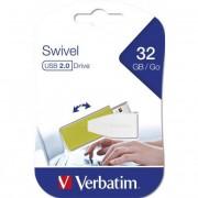 Pendrive, 32GB, USB 2.0, 8/2MB/sec, VERBATIM \Swivel\, zöld