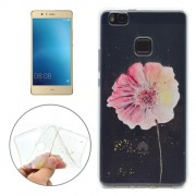 For Huawei P9 Lite Flower Pattern Transparent Soft TPU Protective Back Cover Case