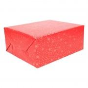 Shoppartners Kerst inpakpapier rood met gouden sterren 200 x 70 cm op rol