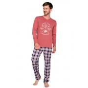Artúr férfi pizsama, hosszú, borszín XXL