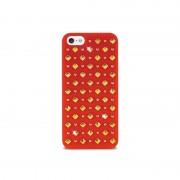 Capa com Tachas Redondas e Quadradas Puro Rock para iPhone 5 / 5S / SE - Vermelho