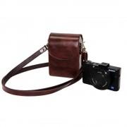 LimitX Camera Lederen Case Schoudertas voor Nikon CoolPix P340 P330 W300 W100 AW130 AW120 AW110 AW100 A900 A300 A10 S33