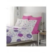 Lenjerie de pat, Dormisete, Kinetics-rose bloom, 1 persoana, renforce imprimata, bumbac, 160 x 230 cm, Rosu
