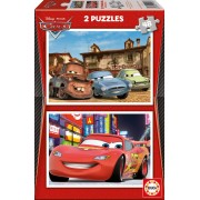 Puzzle din lemn Educa - Disney Cars 2: Piston Cup and Radiator Springs, 2x48 piese (14939)