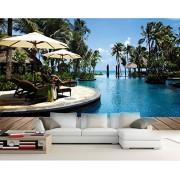 LWCX Papel pintado 3D para pared, diseño moderno y elegante con vista al mar, 320 x 210 cm.