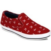 Kielz Red Fabric Designer Sneakers Casuals(Red)