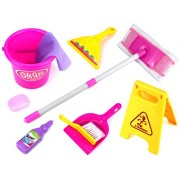 Velocity Toys Little Helper F Deluxe Childrens Kids Pretend Play Toy Cleaning Play Set W/ Floor Dust Mop, Bucket, Dust Pan, Brush, Squeegee, Cleaning Rag, Wet Floor Sign, Mock Soap Bottle & Bar