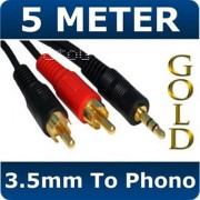 5M Metre 3.5mm Stereo Audio Jack to 2x Twin Male RCA Phono Plugs