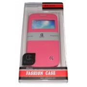 Кожен калъф Rada за Samsung i9190 Galaxy S4 mini с прозорче Розов