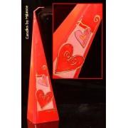kaarsen: Harten Duet, Piramide kaars, 33 cm