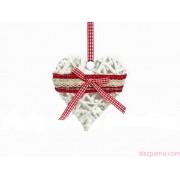 Fonott szív dekoráció csipkével 19 cm