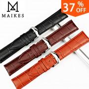 MAIKES New Design Watch Band Genuine Leather Watch Strap 12mm-24mm Watches Bracelet Watch Accessories Black Watchbands For Casio