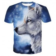 New Snow Wolf 3D Print Men's Casual Short Sleeve Graphic Tee T-Shirt