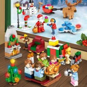 Building Blocks Puzzle Toy Christmas Eve Santa Claus Gifts Making Snowman Scene Educational Toy Christmas Gift For Kids