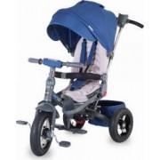 Tricicleta COCCOLLE Corso multifunctionala roti cauciuc, Albastru
