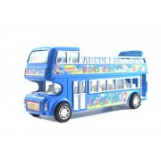 Lukas City Bus for Boys, Push and Go Toy for Kids, Toy Bus, Friction Toy, Bus Toy, Double Decker Bus for Kids, Blue