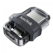 SanDisk Ultra Dual m3.0 unità flash USB 128 GB 3.0 (3.1 Gen 1) Connettore USB di tipo A Nero, Argento, Trasparente