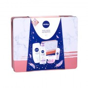 Nivea Care Soothing confezione regalo crema lenitiva 200 ml + crema doccia Creme Soft 250 ml + acqua micellare MicellAIR 200 ml + roll-on Pearl & Beauty 50 ml + scatola di latta