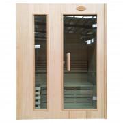Sauna HWC-D58, Saunakabine Wärmekabine, Saunaofen 2,3kW Saunasteine Sicherheitsglas 2 Personen 190x150x105cm ~ Variantenangebot