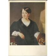 Aurora Art ~ Portrait of L.. Borozdna at The Easel ~ Color Paintings of Vasily Tropinin - Russian Romantic Painter - 15X21 cm Post Card