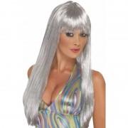 Smiffys Grijze glitter pruik stijl lang haar