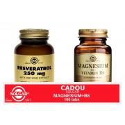 Solgar Pachet Resveratrol 250mg 30cps + Magnesium cu B6 100 tablete GRATIS
