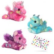 J4U Jellyroll Unicorn, Sprinkles Dragon, and Tutti Frutti Pegasus Bright Fancies Plush Beanbag Animals Set with Gift Tag