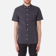 Lyle & Scott Men's Short Sleeve Garment Dye Oxford Shirt - Washed Grey - S - Grey