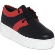 1 WALK 1 WALK MAPPLE COLLECTION ORIGINAL COMFORTABLE STYLISH WOMEN SHOES /SNEAKERS/COLLEGE WEAR/2018 LATEST COLLECTION/PARTY WEAR/CASUAL DRESSING WEAR/WEEDING WEAR-Black::Red Casuals For Women(Black, Red)