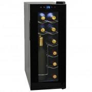 vidaXL Охладител за вино, 35 л, 12 бутилки, LCD дисплей