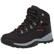 Columbia Newton Ridge Plus Botas de Senderismo para Mujer, Black, Poppy Red, 10.5 M US
