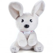 Peek A Boo Plush Toy, Soft Cute Flappy Plush Dog Toy, Talking Singing Small Stuffed Animal Puppy for Kid Girl Boy Teen Baby Toddler, White