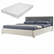 [my.bed] Elegantná manželská posteľ s LED osvetlením - matrac zo studenej HR peny - 180x200cm (Záhlavie: textil sivá / Rám: textil krémová) - s roštom