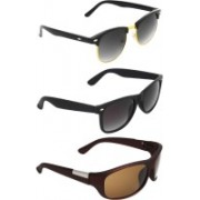 Zyaden Clubmaster, Wayfarer, Wrap-around Sunglasses(Black, Black, Brown)