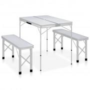 vidaXL Сгъваема къмпинг маса с 2 пейки, алуминий, бяла