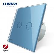 Intrerupator dublu cu touch Livolo din sticla - protocol ZigBee, albastru