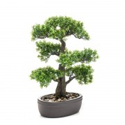 Bellatio flowers & plants Groene kunstplant Bonsai plant in pot