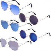Amour Propre Skyblue Dark-blue Blue Grey UV Protection Aviator Unisex Sunglasses (Combo of 5)